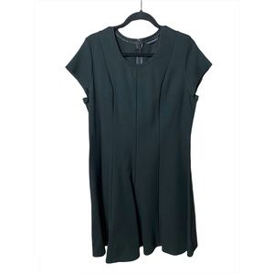 H by Halston Black Fit and Flare Paneled Dress